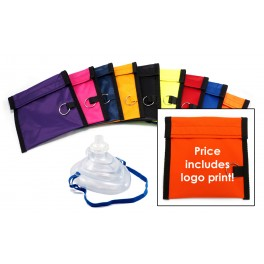 Rescuer® Premium CPR Mask w/ O2 Inlet, Headstrap, One-way Valve, Filter & Keychain Pouch & Print