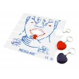 Resq-Aid® CPR Shield w/ One-way Check Valve, Filter w/ Heart Keychain Case