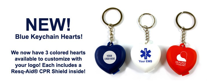 Resq-Aid® Blue, Red & White Keychain Hearts!